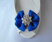 Handmade bow shoe clips with rhinestone center bridal shoe clips wedding accessories in royal blue