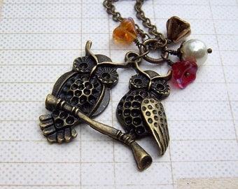 Vintage Owl Necklace Brass Owl Jewelry