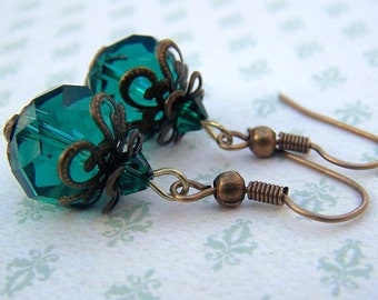 Emerald Earrings Vintage Earrings  Estate Style Jewelry Old Hollywood Delicate Dainty Vintage Inspired Romantic Neo Victorian Jewelry