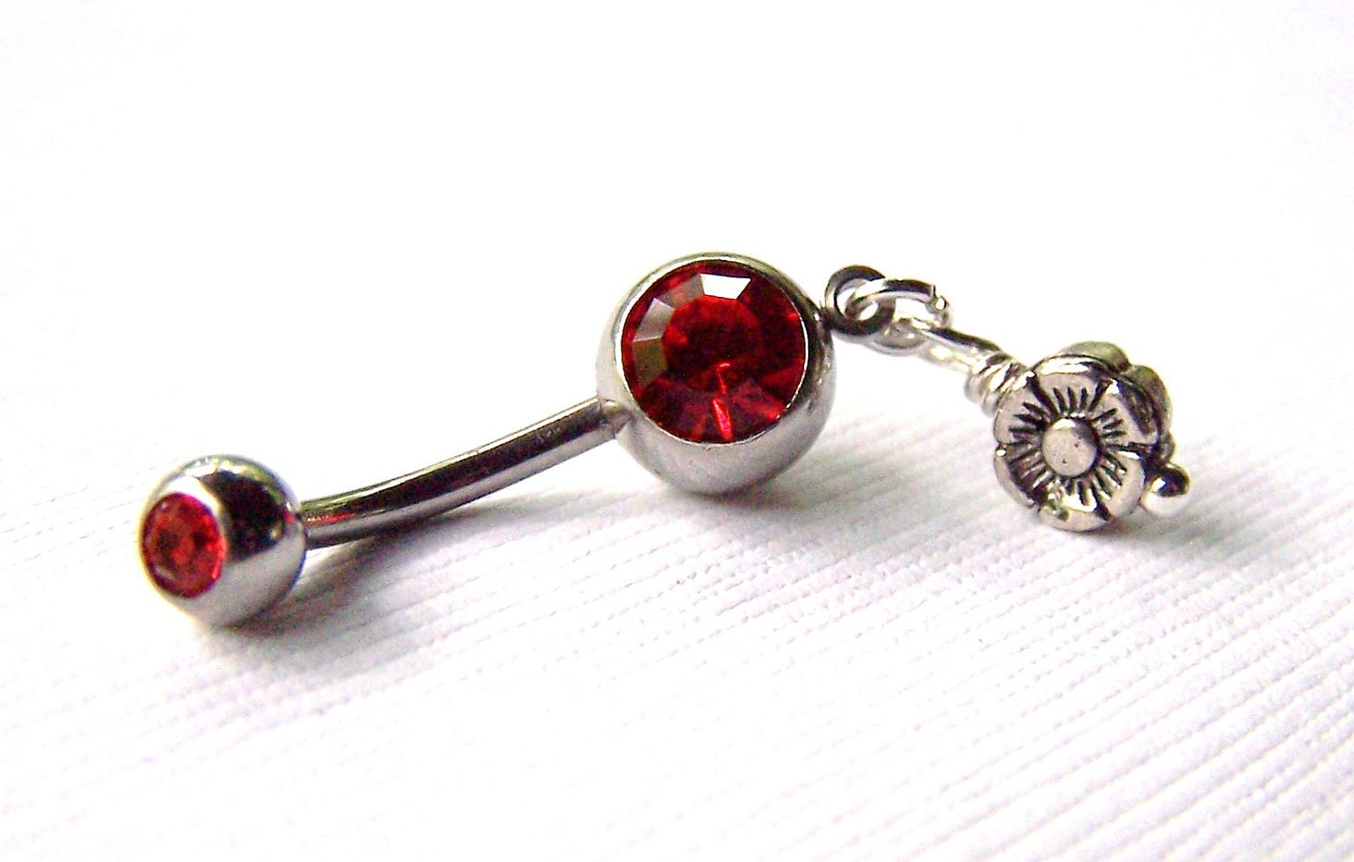 belly ring belly button jewelry flower by daisysgemgarden