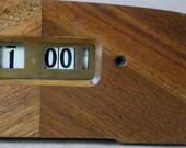 Beautiful Art Deco Wooden Mantel Clock rectangular with flip dial face 1940's