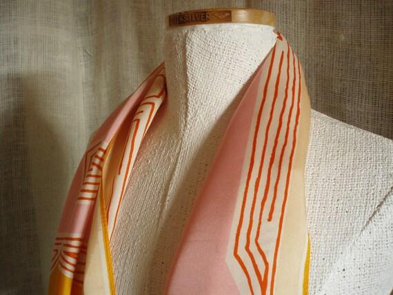 RESERVED  Vintage Vera Neumann Scarf Orange and Pink Neck Scarf Signed Ladybug Design
