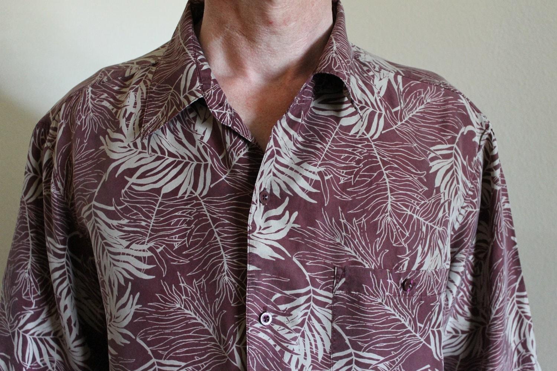 Vintage Mens Silk Shirt Hawaiian Short Sleeve By
