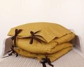 ORGANIC Toddler Bedding set - mustard yellow, brown little snowflakes print, brown ribbon