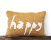 Decorative Pillow -Happy - soft knitted pillow - yellow, white, 12x18, includes insert
