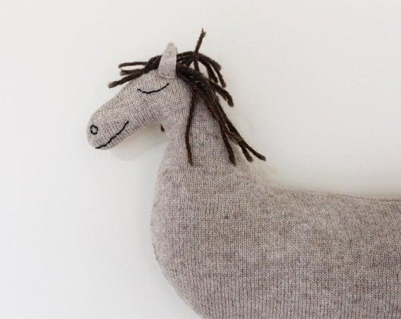 Little HORSE soft knitted toy - ecru, light brown