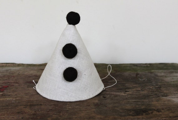 Party Hat - natural linen (can be customized)