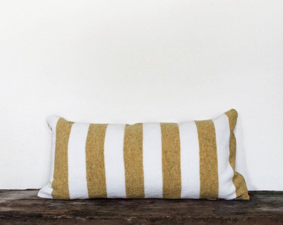 Striped Pillow, soft knitted pillow, lumbar - yellow and white stripes 12x24, includes insert