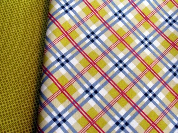 Denyse Schmidt Fabric Fat Quarter DS Quilts Aunt Edna Bias Plaid Gold