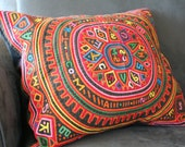 Panamanian Mola quilted pillow cover