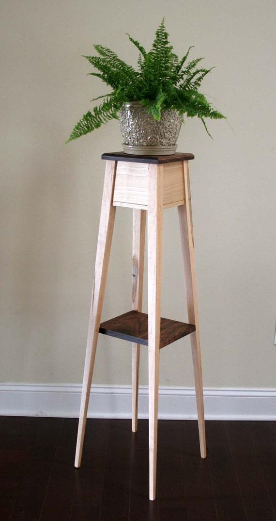 Plant Stand Wormy Maple and Walnut - Splayed Leg Design