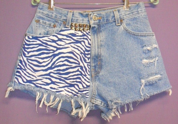 High Waisted Levis Shorts with Zebra Print   front & Back --Waist 29
