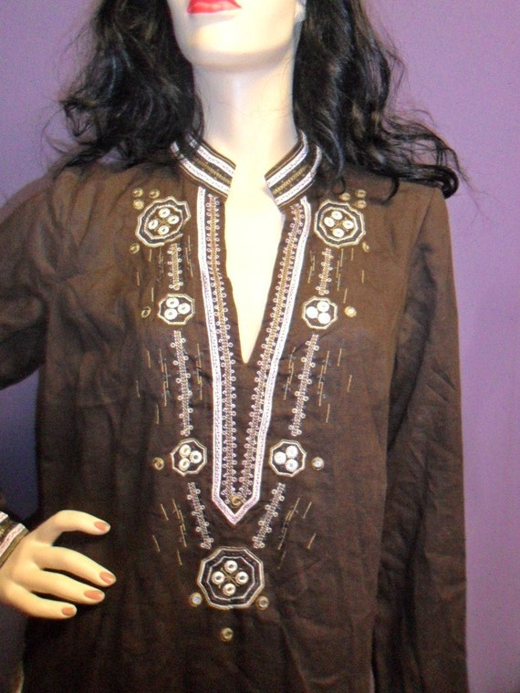 Wonderful  Vintage Ethnic  Linen Tunic Top -Embroidered with little mirrors