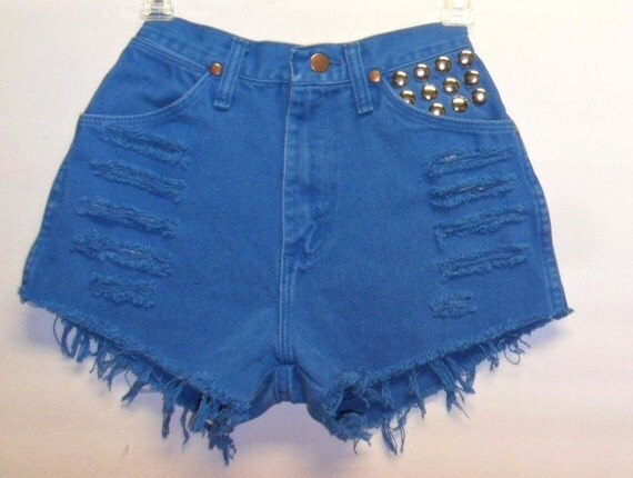 Vintage Wrangler  Teal Blue High Waist Denim Shorts with Studs Waist 23.5  inch XS