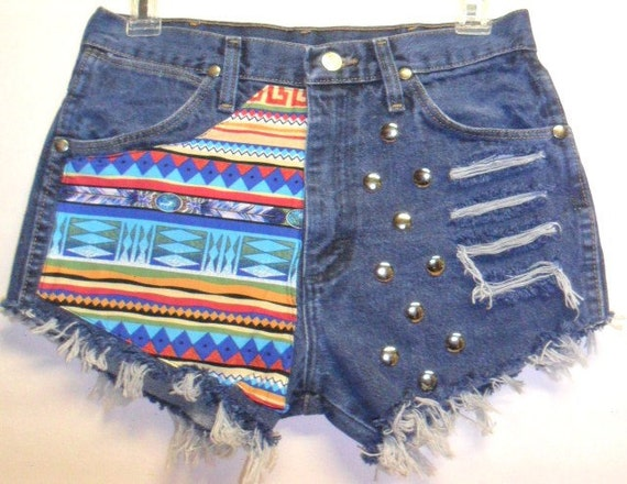 Vintage Wrangler High Waist Denim Shorts Tribal Print  with Studs Waist 28  inch