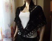 In Memory of My Grandmother - Crochet Shawl / Black Shawl / Triangle Shawl / Crochet Poncho / Crochet Neckwarmer / Crochet / 30% OFF !!!