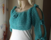 Rose Garden - Crochet SHRUG / Crochet BOLERO / Crochet NECKWARMER / Blue Roses / Soft Shrug /  Puffy Shrug / Soft Bolero
