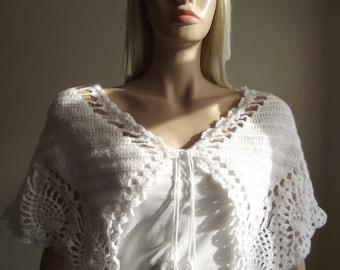 Crochet Shawl / Wedding Shawl / Wedding Capelet / Bridal Capelet / Crochet Neck Warmer / Versatile Shawl / Pearl Beads / 30% OFF !!!
