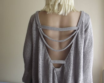 CUSTOM ORDER - Stylish Mysterious - Hand Knitted Sweater / Sweater with Cords / Long Sleeve Sweater / Open Back Sweater / Sleeve Slits