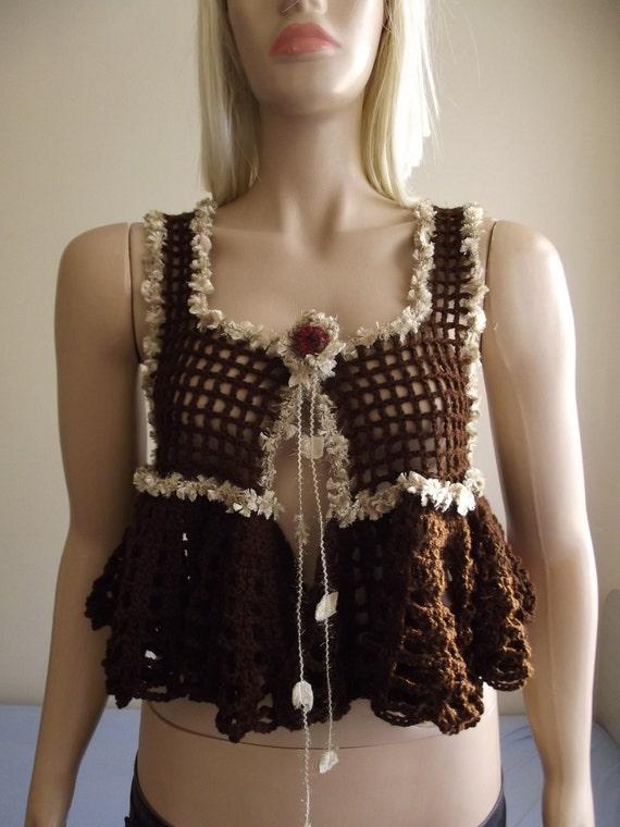 Crochet Shrug / Crochet BOLERO / Crochet Vest / Sleeveless Vest / Wavy Hem Shrug / Sparkling Borders / Chest FLOWER / Custom Order