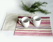 Place mats   - Pink to violet stripes - kitchen accessories for the table