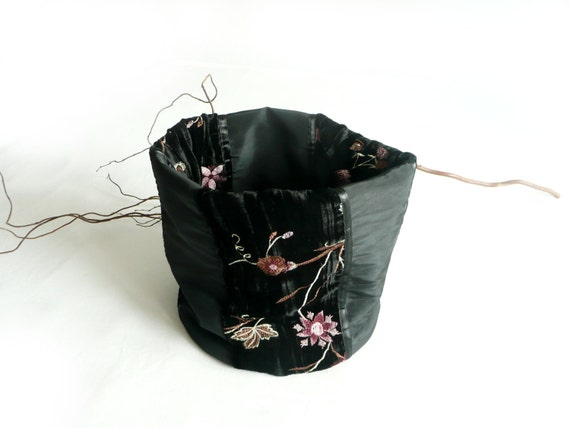 Black fabric basket in taffeta with flowered embroidery -  handmade black storage box for home decor