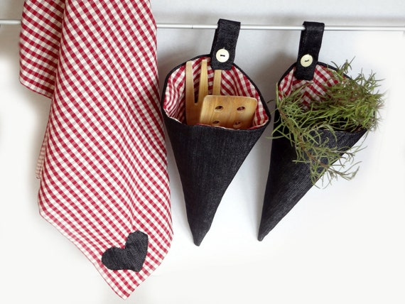 Kitchen storage and towel - OOAK - home decoration - gingham & jeans - gift