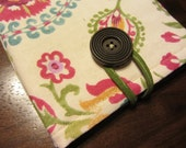 Kindle, Nook, or Tablet Cover- Green/Pink Flowers