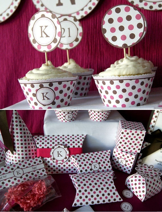 DIY Pink and Brown Dots Birthday Party or Tea Party