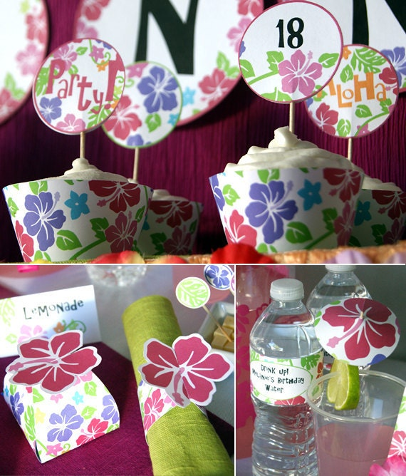 Diy Luau Party Hibiscus Pink Printables Party Supplies Etsy