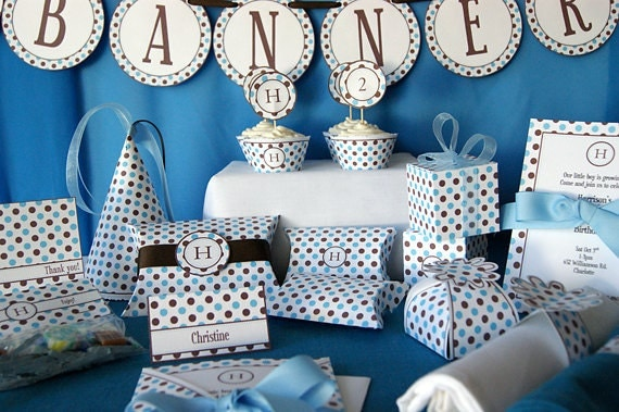 Blue Amp Brown Dots Party Printables Editable W Initial
