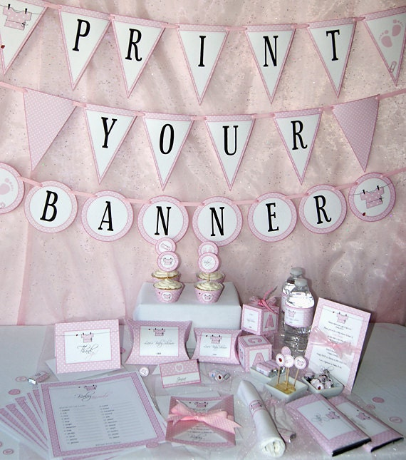 Baby shower printables baby girl pink diy by pressprintparty for Baby shower decoration free