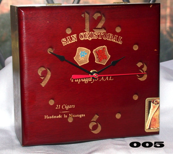 Unique Upcycled Cigar Box Clock Red Tone Natural Wood Desk Shelf Man Cave Office Male Gift