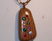 Wood pendant      Mesquite and Swarovski elements