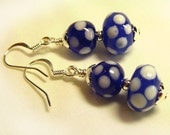 Blue & White Polka Dot Lampwork Glass Earrings