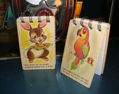 Easter Bunny Mini NOTEBOOKS circa 1950's Playing Cards (Set of 2) -- Adorable Bunny & Parrot TWO DOLLARS