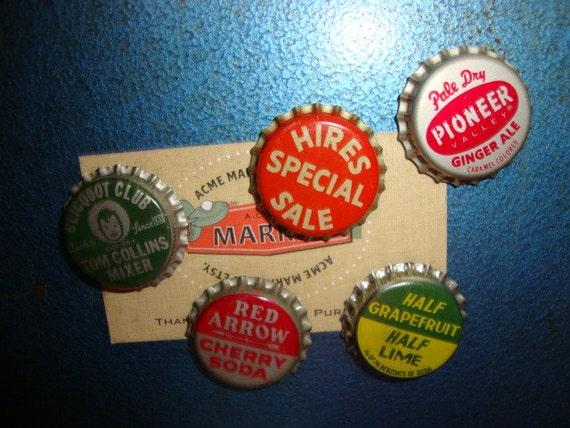 Upcycled VINTAGE BOTTLE Cap MAGNETS Set of 5 Soda Pop Hires Tom Collins Cherry Cola