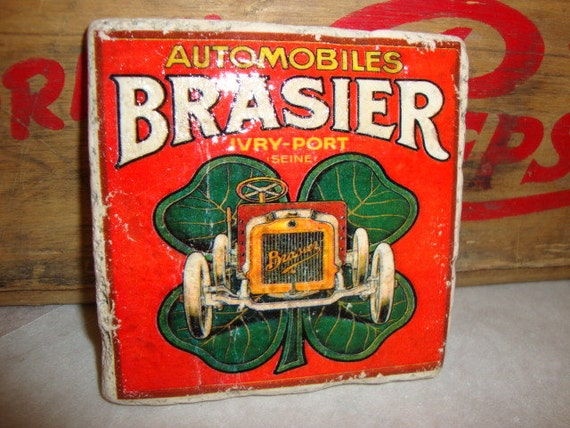 """Antique """"Brasier Automobile"""" Tumbled Marble Tile Coaster (1) or MIX-N-MATCH to create your own set"""