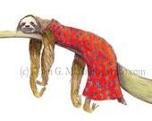 Lazy Susan (5x7 archival print of a sloth in a muumuu)