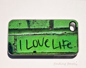 iPhone 4 4s Cover, Bright Kelly Lime Green I Love Life Photography Phone Case, Fun Funky Urban Graffiti Street Art Word Photo Happy iPhone