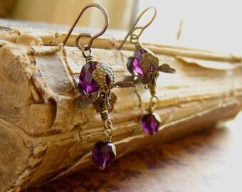 Iris Earrings in dark amethyst purple Czech beads and brass
