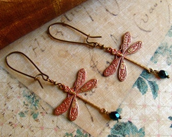 Brass Dragonfly Earrings in Red Patina and Teal Green