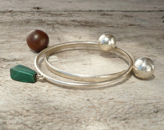 sterling silver bangles with spheres, horn and malachite