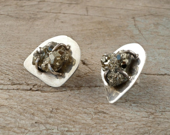 sterling silver and raw pyrite earrings