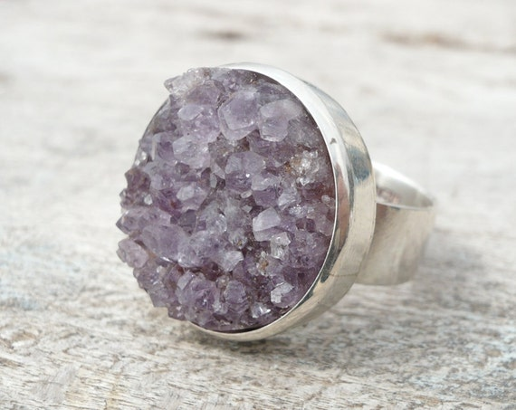 Round druzy amethyst sterling silver ring   FREE SHIPPING