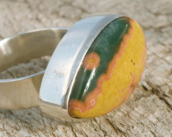 ocean jasper sterling silver adjustable ring