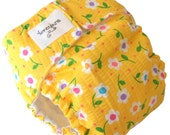 Yellow with White Flowers AIO Cloth Diaper with Velcro PUL - Small 6 Months