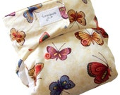 Bohemian Butterflies One Size Cloth Diaper with PUL Velcro Bamboo Organic Cotton - Newborn Toddler