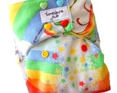 Reserved for Natalia Bardill -Rainbow Brite One Size Cloth Diaper with PUL Heart Snaps Bamboo Organic Cotton