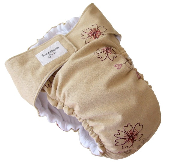 On Sale - Tan Suede Embroidered Flowers AIO Cloth Diaper with PUL Velcro - XL 24 Months 2T Toddler